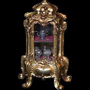 Old Doll Miniature Vitrine W/ Glass Set Dollhouse Casket Metal