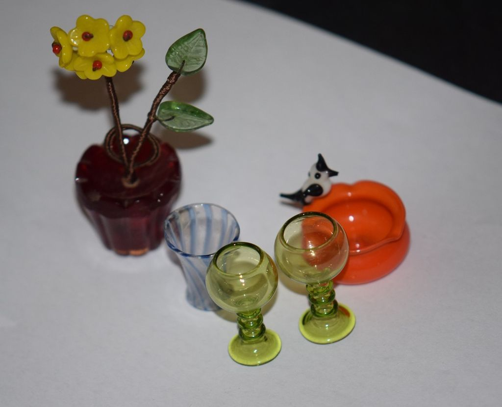 Antique Doll Miniature Dollhouse Accessories Glass Limoges