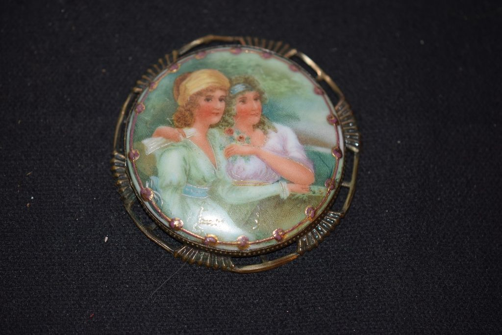 Old Doll Miniature Porcelain Painting Plaque For Dollhouse