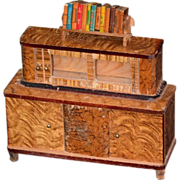 Old Doll Miniature Sideboard w/ Glass & Miniature Books Dollhouse