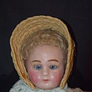 Antique Doll Wax Over Papier Mache Glass Eyes Paper Mache