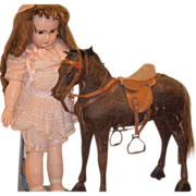 Antique Doll Horse Toy Miniature On Wheels W/ Accessories