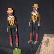 Antique Doll Black Dolls Dancing Rastus Pair Dancing Carved Wood Talking Machine Toys Original Body