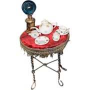 Old Doll Miniature Set Glass Globe Lamp and German Tea Set Dollhouse