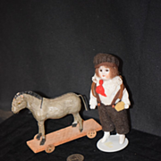 Antique Doll Miniature Dollhouse Pull Toy Horse on Wheels
