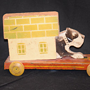 Old Dog  Wood Pull Toy W/ Dog House Hustler Toy Corp
