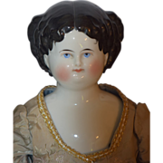 Antique Doll China Head Fancy Hair Style Wispy
