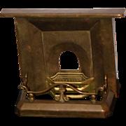 Antique Doll Miniature Brass Fireplace & Ornate Fender Guard Dollhouse