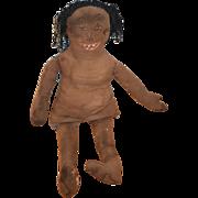 Antique Doll Cloth Black Rag Doll Folk Art Unusual