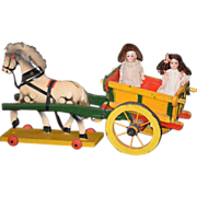 Old Doll Horse & Carriage Dollhouse Miniature Pull Toy German