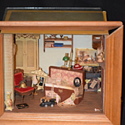 Vintage Doll Miniature Mart Diorama Room Box Dollhouse Signed
