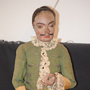 Antique Doll Fab 18th Century Carved Wood Man Jointed HUGE