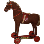 Old Doll Toy Horse on Wheels Pull Toy Saddle Adorable