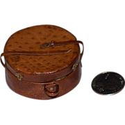Vintage Doll Miniature Leather Suit Hat Box Case Carrying Case Leather