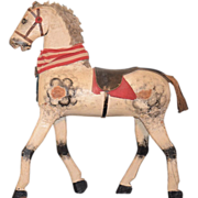 Old Horse Carved Wood Pull Toy Ride On Horse For Doll