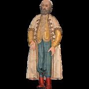 Antique Doll Early Neapolitan Neopolitan Man  Wood Gesso Fab Costume Creche