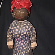 Antique Doll Cloth Black Primitive Sewn Features Unusual