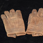 Antique Doll Child's Leather Gloves Adorable