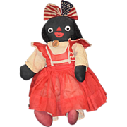 Old Doll Black Cloth Rag Doll Character Dressed Americana