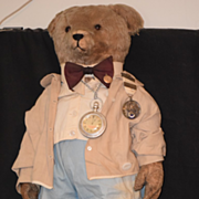 Old Teddy Bear Mohair with Old Medals Dressed