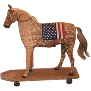 Old Doll Toy Horse Pull Toy Ride on Miniature
