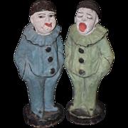 Antique Doll Papier Mache Clown Set Jesters