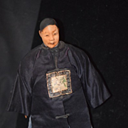 Antique Doll Door of Hop in Original Costume Wood Oriental