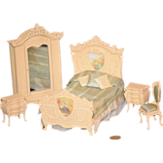 Vintage Doll Miniature Dollhouse Bedroom Set Painted Wood