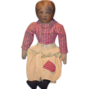 Old Doll Cloth Printed Face Unusual