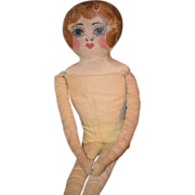Old Doll Cloth Oil Cloth Painted Rag