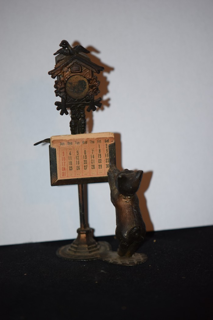 Old Doll Miniature Cat W Clock And Calendar Metal Dollhouse Fab Oldeclectics Ruby Lane