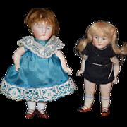 Antique Doll Miniature All Bisque Dollhouse Pair Set Dolls