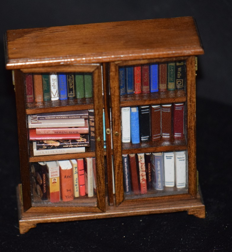 Vintage Doll Dollhouse Miniature Book Shelf W/ Books Book