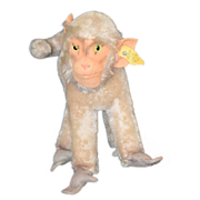 Old Steiff Monkey Doll Unusual w/ Button Ear & Collar