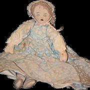 Old Cloth Doll Rag Drawn on Features Folk Art