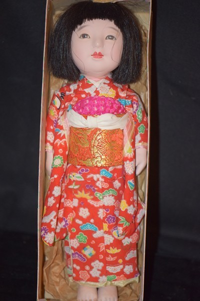 Old Oriental Doll in Original Box