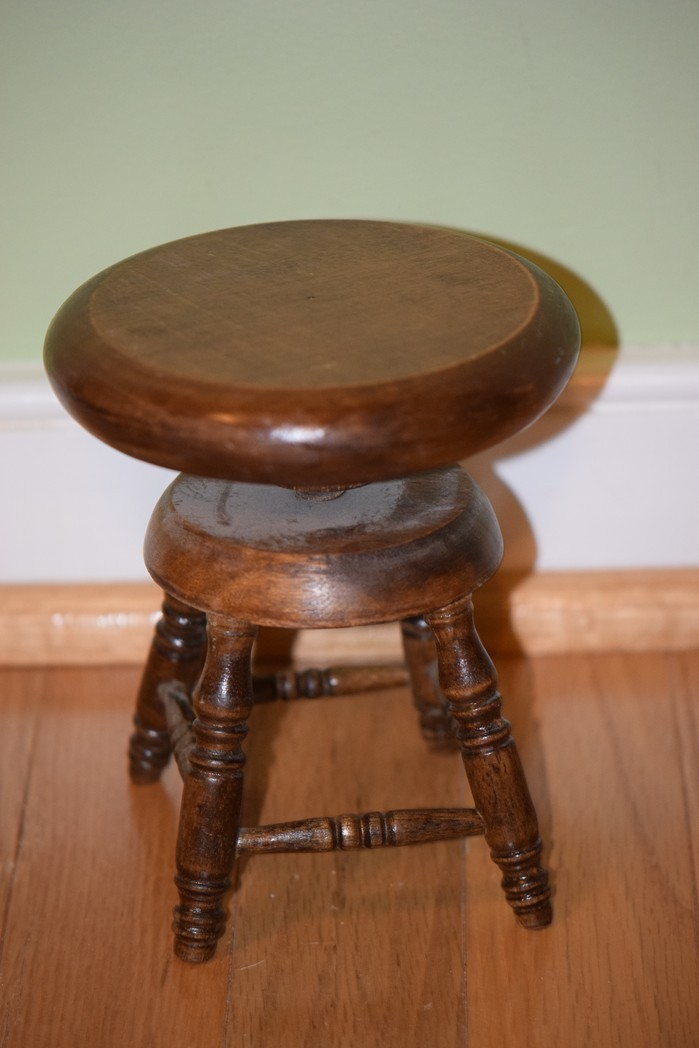 Antique Doll Wood Piano Stool Wonderful Miniature From