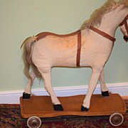Antique Doll Toy Horse Pull Toy Ride On Wood Wheels
