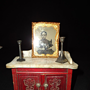 Vintage  Miniature Tin Type Photograph Candle Sticks Globe on Stand Young Girl Doll House