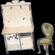 Antique Doll Miniature Dollhouse Tin Chair & Baking Shelf Pie Safe