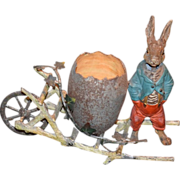 Antique Doll Candy Container W/ Nodder Rabbit and egg Cart For Doll Cold Painted Bronze