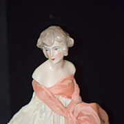Old Doll Half Doll China Head on Cage base Lamp Gorgeous