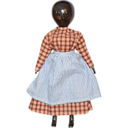 Vintage Doll Wood Carved Pegged Jointed Penny Artist Signed Black Doll Young