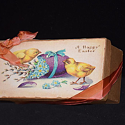 Old Easter Box Candy Container Little Chics Flowers Doll Box