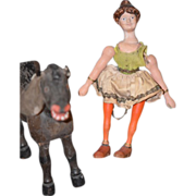 Antique Schoenhut Doll & Glass Eye Donkey Circus Lady Set