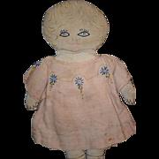 Old Doll Cloth Rag Doll Sewn Features Cute!