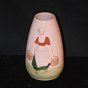 Old Gebruder Heubach Pottery Porcelain Vase W/ Dutch Girl Unusual