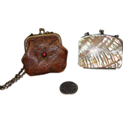 Old Doll Miniature Purse Lot Leather W/ Bead and Shell Purse Fashion Doll