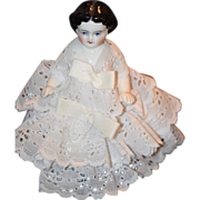 Antique Doll Frozen Charlotte Wonderful Miniature Dressed Dollhouse