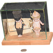 Antique Doll Kewpie Rose O'neill Bisque Doll Set in Glass Case Bride & Groom